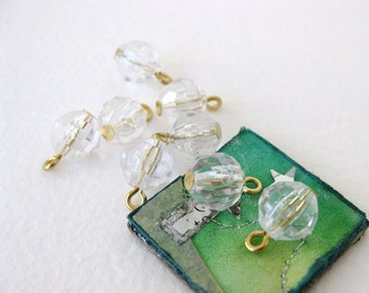 Vintage Plastic Bead Drops Faceted Crystal Clear Gold Wire 9mm vpb0090 (10)