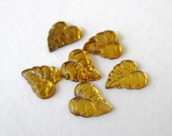 Vintage Glass Cabochon Topaz Leaf Gold Leaves 8mm gcb0802 (8)