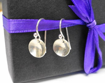 Tiny LIght Pool Earrings - delicate hammered sterling silver earrings