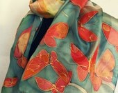 Flaming Butterflies silk scarf Hand Painted/ Green orange scarf, Bright summer scarf/ Long fashion scarf/Birthday gift her, Unique handmade