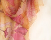 Magnolias silk scarf. Hand painted silk chiffon scarf. Pink yellow scarf shawl, Spring celebration, Handpainted scarves, Lightweight scarves
