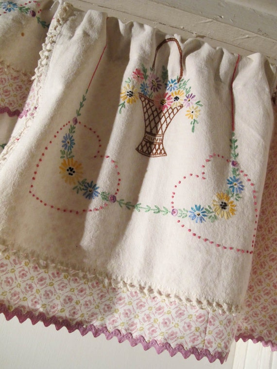 Repurpose vintage linen valance upcycle embroidery window