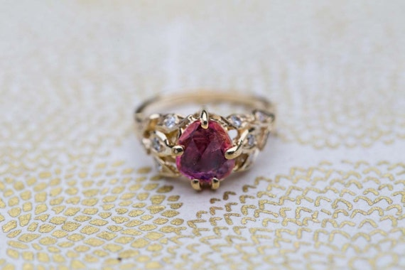 Reserved for Darla. .On sale 20%off.  Leaf 14k  Gold engagement ring, anniversary ring, rose cut pink Tourmaline. Ready to ship.