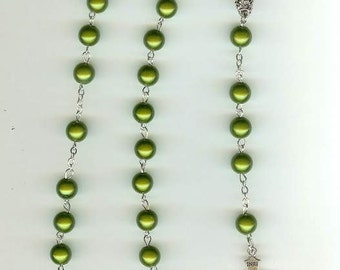 Handmade Rosary Necklace in Emerald Magic Beads with Our Lady Center Piece & St. Benedict  Crucifix