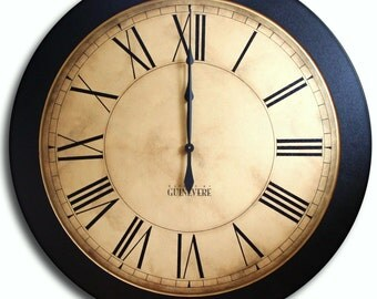 Large Wall Clock 36in Antique Style Big Art WHITING Distressed CUSTOM LISTING for muscamaryr