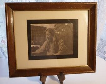 vintage Indian picture, vintage framed picture, interesting art, vintage wooden frame, vintage home decor, rustic, Western, unique picture