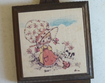 SALE Holly Hobbie, Vintage Holly Hobbie Style, easel picture, vintage home decor, childrens room, small picture, unique decor, girl picture