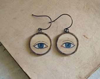 The Eyes Have It Vintage Paper Glass Earrings Halloween Jewelry