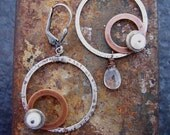Diamonds and Rust, Mixed Metal Earrings with Fresh Water Pearls and Clear Quartz Crystals, Hoop Earrings.