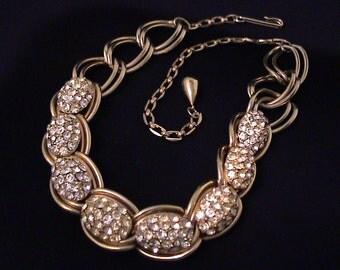 Vintage Unsigned Kafin Crystal Egg Rhinestone Necklace