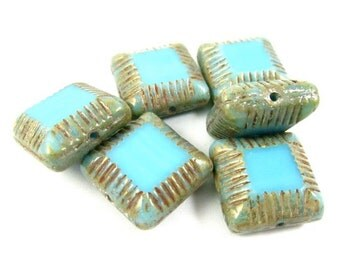 4 - Czech Pressed Glass Beads Chunky Carved Lines Edges Square Picasso - Opaque Turquoise  - 14mm - S2084a