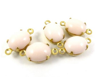 6 - Vintage Glass Oval Stones in 2 Rings Closed Back Brass Prong Settings - Light Pink - 10x8mm