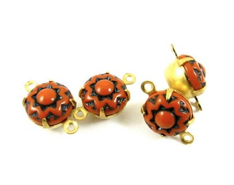 4 - Vintage Round Flower Pattern Glass Stones in 2 Rings Closed Back Brass Prong Settings - Brick - 9mm