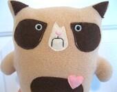 Grumpy Cat Plush-Grumpy Cat stuffed animal plush toy in Brown Eyes Handmade-Angry, mad cat. Child friendly plush stuffed animal cat toy