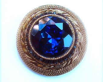Vintage Designer Circle Brooch Signed HAR Sapphire Blue Glass Rhinestone Fine Jewelry
