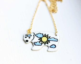 Enamel Polar Bear Necklace, Enamel Necklace, Polar Bear Necklace, Bear Necklace