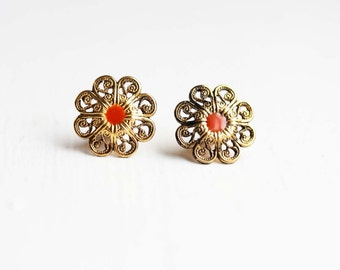 Orange Dot Filigree Studs
