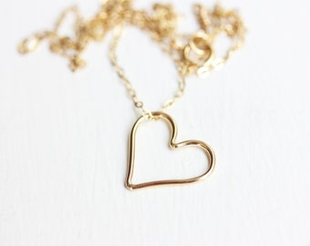 Heart Necklace, Small Heart Necklace, Wire Heart Necklace, Gold Filled Heart Necklace, Sterling Silver Heart Necklace, Heart Charm Necklace