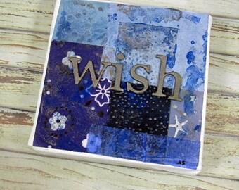 Original Canvas Word Art Collage Wish 4 x 4