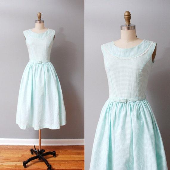1950s Dress - Pale Blue Full Skirt 50s Dress - Tea Dress