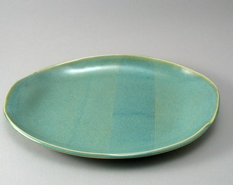 Oval Ceramic Serving Platter-Pottery Plate-Stoneware Server-Tableware-Handmade-Pearl Green Glaze