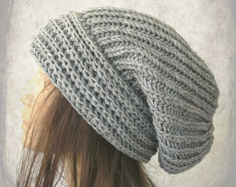 Knit Hat - Slouchy Beanie-  Slouchy  Hat -   Womens hat  - Winter Hat -  chunky knit  Hat -  Fall  Winter Accessories fashion Silver Gray