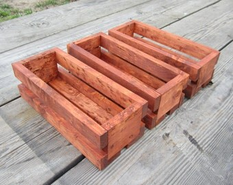 3 Wood Crate Centerpieces - Country Wedding Decor Crates