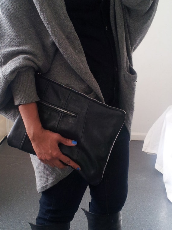 large soft black recycled leather clutch bag leather zipper