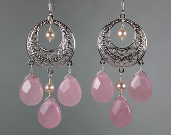 Pink Quartz Chandelier Earrings, Mother of the Bride, Groom, Gift for Sister, Gift for Wife, Bridal Jewelry, Jewelry Trend, Weddings