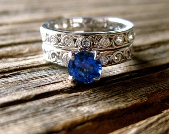 Blue Sapphire Engagement Ring & Matching Wedding Band in 14K White Gold with Diamonds and Scrolls Size 5