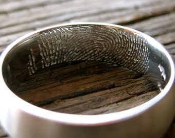 Platinum Finger Print Wedding Ring with Matte Finish and Your Own Handwritten Quote Inside Size 10