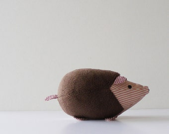 little hedgehog toy - fabric stuffed animal hedgehog - simple toy - child friendly safety eyes