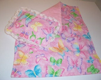 Doll bedspread/blanket with matching pillow-pink.