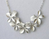 Silver Orchid Bridesmaid Necklace - Orchid Cascade Necklace - Wedding Necklace - Bridal Necklace - Gift Under 30