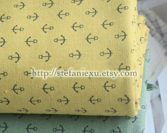 SALE Clearance 1 Yard Nautical Marine, Chic Neat Anchors Collection(Yellow)-Linen Cotton Blended Fabric(1 Yard)