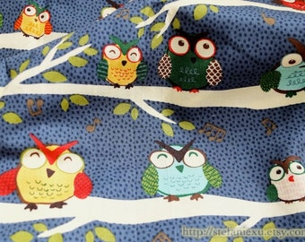 2015 SALE CLEARANCE-1 YARD Owl Hoot Collection, Happy Music Owl Family On The Tree-Cotton Fabric