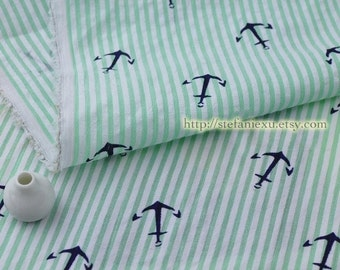 SALE Clearance 1 Yard Nautical Marine, Chic Navy Blue Anchors On Spring Green Stripes - Japanese Cotton Bubble Fabric (1 Yard)