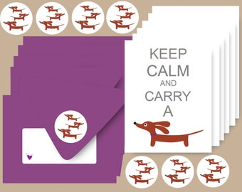 Dachshund Cards Set of 6 with Envelopes and Stickers - Keep Calm and Carry a Doxie in Beet Purple