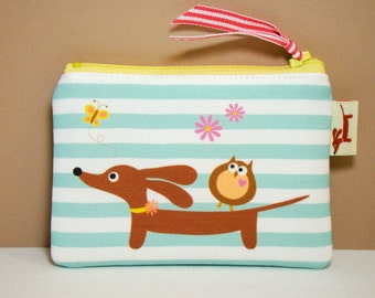 Dachshund Dog Coin Purse - Doxie and Owl Mint Stripe - Dachshund Accessory