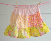 Girls Pink and Yellow Floral Twirl Skirt Size 6-12
