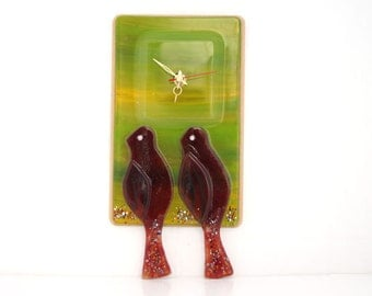 Wall  Hanging  clock , Fused glass red love birds
