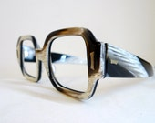 NOS Vintage Designer Eyeglass Frame / Zebra Pattern Sunglasses/ Huge Mod Cat Eye / Men Womens Eyewear