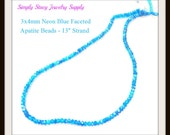 """13"""" Strand of 3x4mm Faceted Electric Blue Apatite Rondelles"""