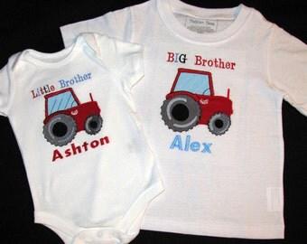 Big Brother Little Brother Tractor Tshirts - Personalized Set of 2 shirts or Bodysuits - Sibling Shirt Set - Choose Tractor Colors