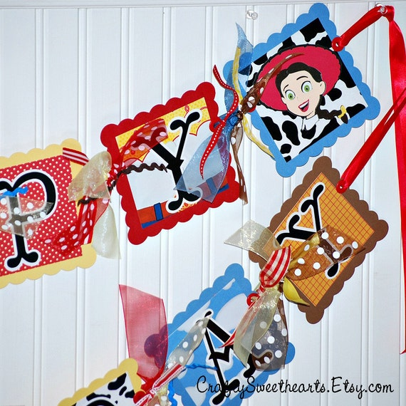 Toy Story Happy Birthday Banner Jessie Themed Party Decoration