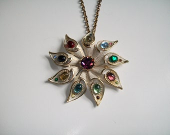 Mid century Jeweled Flower Pendant Necklace