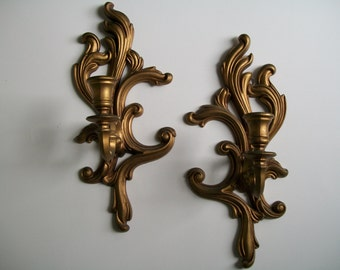 Shabby Gold Wall Sconce Candle Holder Pair