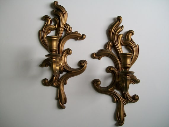 Shabby Gold Wall Sconce Candle Holder Pair by msink on Etsy