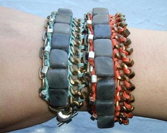 Multi Chain w/ Jasper Beaded Bracelet- Aqua