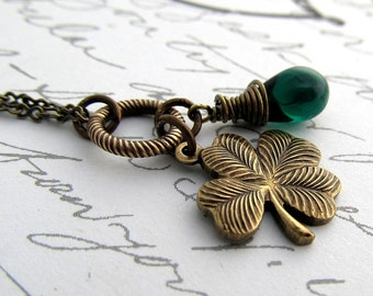 Four Leaf Clover Necklace, Shamrock Necklace, Saint Patricks Day Pendant, Emerald Green